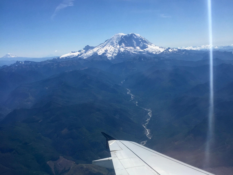 Mount Rainier from the airplane window
