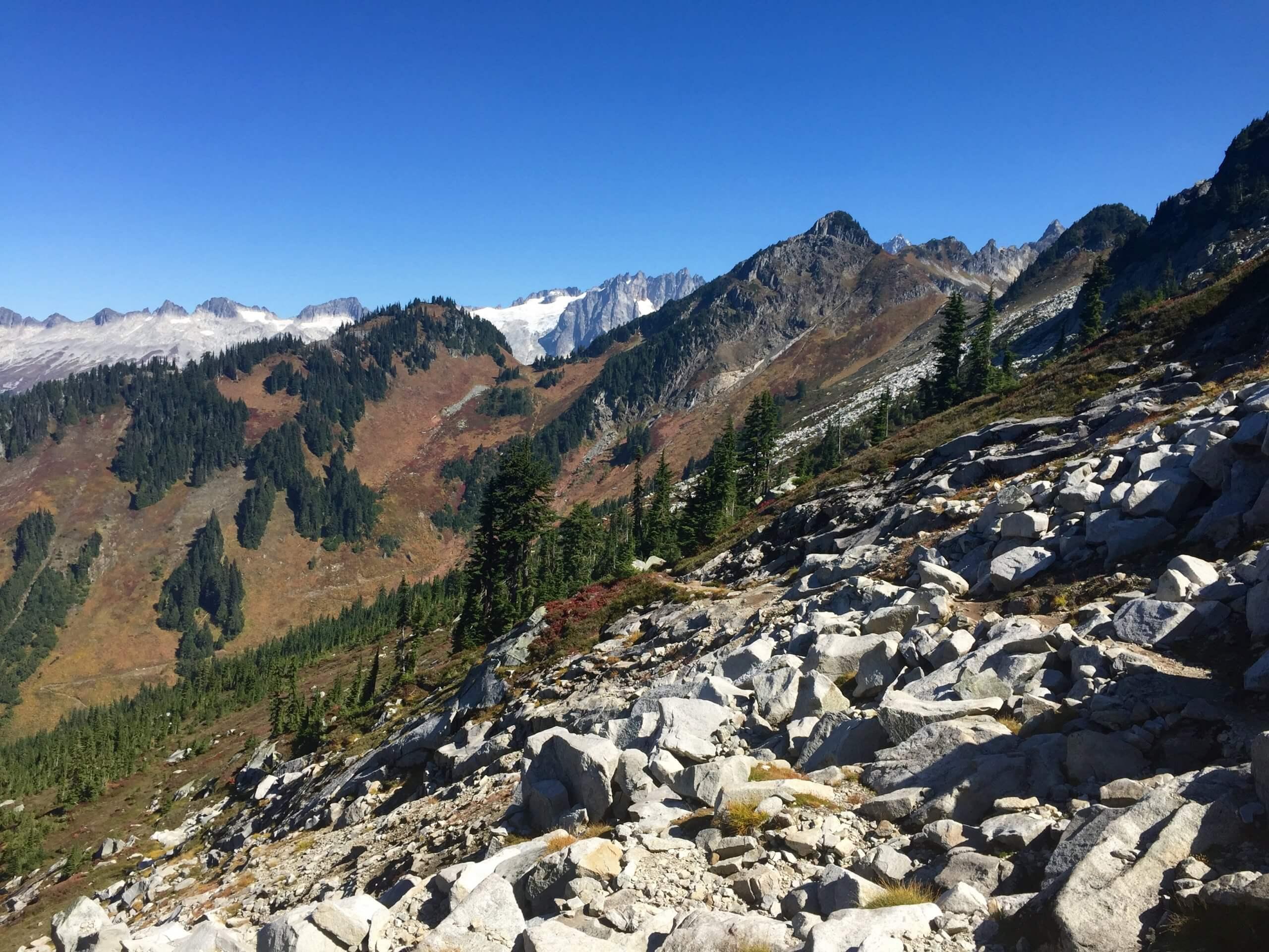 A talus slope along the Hidden Lake Trail